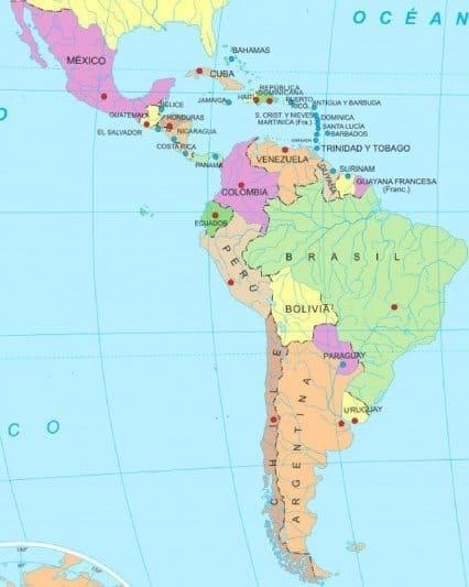 Mapa de América Latina o Latinoamérica
