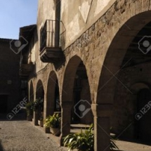 Inside villlage of Santa Pau, Garroxa, Girona,Spain